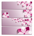 Set of horizontal banners with sakura flower vector image