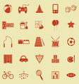 Toy color icons on yellow background vector image