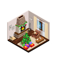Isometric Lounge Christmas Interior With Fireplace vector image