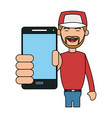 person using phone icon image vector image