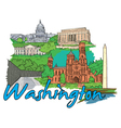 washington doodles vector image vector image