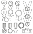 black line flat award trophy icons variable vector image vector image