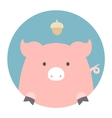 Animal set Portrait in flat graphics - Pig vector image