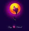 card halloween ghost violet vector image