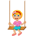 funny Little girl plying swing vector image
