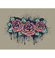 Grunge Roses with Splatters3 vector image