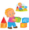 little boy playing with blocks vector image