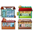 Petshop burger stand butcher shop and bakery vector image
