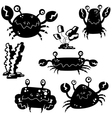 crab silhouettes vector image vector image