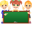 happy schoolchildren with green banner Blackboard vector image vector image