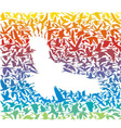 Abstract rainbow predator bird and its prey vector image vector image