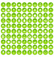 100 patisserie icons set green circle vector image