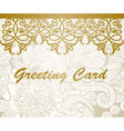 greeting card with golden floral border vector image vector image