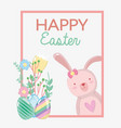 happy rabbit female and eggs design vector image