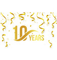 isolated golden color number 10 with word years vector image