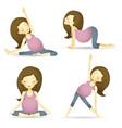 set of pregnancy yoga poses vector image
