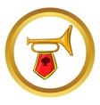 Golden trumpet icon cartoon style vector image