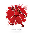red ninja and sword vector image