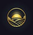 farm nature landscape gold logo vector image