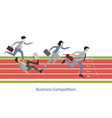 Business people running on red rubber track vector image