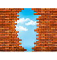 Vintage brick wall background with hole vector image vector image