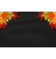 Maple leaves on black chalkboard vector image