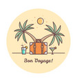 bon voyage suitcase and palm trees vector image