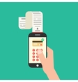 hand holding smartphone with shopping check vector image
