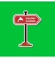 paper sticker on stylish background dolphinarium vector image