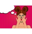 Pop art scared brunette woman face vector image