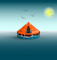 rescue a orange raft on the sea gulls and the sun vector image