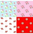 Seamless patterns with rose and heart vector image