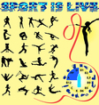 silhouettes of different sports with healthy food vector image