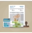 paper invoice paid stamp calculator cash money vector image