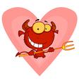Happy Little Devil With Pitchfork vector image vector image