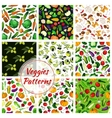 Vegetable olive fruit mushroom seamless pattern vector image
