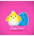 Easter card with chicken and egg vector image