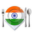 a plate with an indian flag vector image