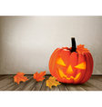 Halloween background with a Jack O Lantern vector image vector image