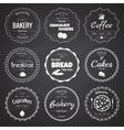 Set of 9 circle bakery labels vector image
