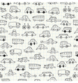 Cars doodles seamless pattern vector image