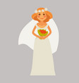 cheerful bride with bouquet vector image