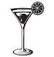 cocktail glass with lemon vector image