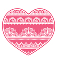 Valentines day design - mehndi heart indian vector