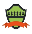 shield protection forest pine orange ribbon green vector image