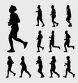 Man and woman running silhouettes set vector image