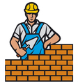 mason with brick and trowel in hand vector image vector image