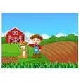 Cartoon little farmer and his dog with farm backgr vector image