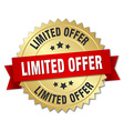 limited offer 3d gold badge with red ribbon vector image