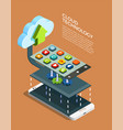 cloud computing technology isometric poster vector image